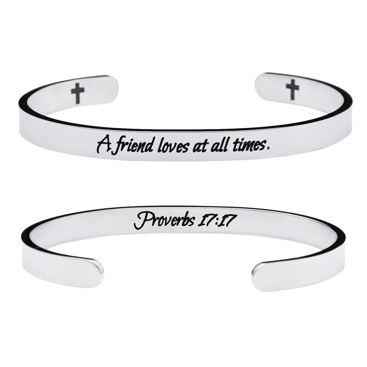 Yiyang Friendship Bracelets Chirstian Jewelry Positive Cuff Bangle Memorial Gift Proverb Engraved A Friend Loves at All Times by Yiyang (Image #1)