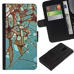 [Neutron-Star] Modelo colorido cuero de la carpeta del tirón del caso cubierta piel Holster Funda protecció Para Samsung Galaxy S5 Mini (Not S5), SM-G800 [Rust Hierro Metal turquesa]