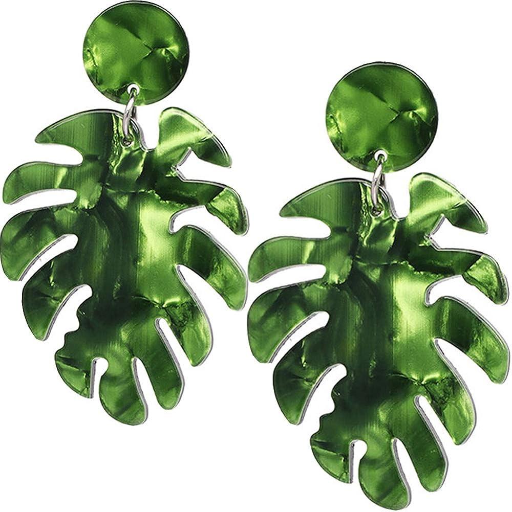L&KJewelery Acrylic Leaf Earrings for Women - Palm Leaf Earrings Banana Leaf, Match with Palm Leaf Kimono