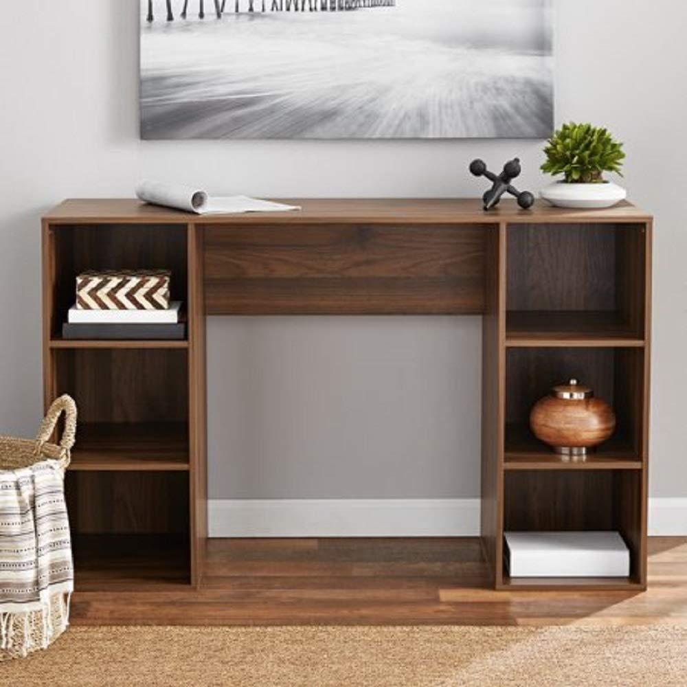 Mainstays Student Desk - Home Office Bedroom Furniture Indoor Desk - Easy Glide Accessory Drawer (Desk Only, Rodeo Oak) (6 Cube Computer Desk, Dark Walnut)