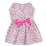 Iuhan Pet Clothes, Floral Paste Dress Pet for Small Dogs Party Princess Pet Apparel (S, Pink)
