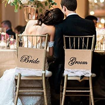 Amazon.com: Groom And Bride Chair Burlap Bunting Banner Chair Signs ...