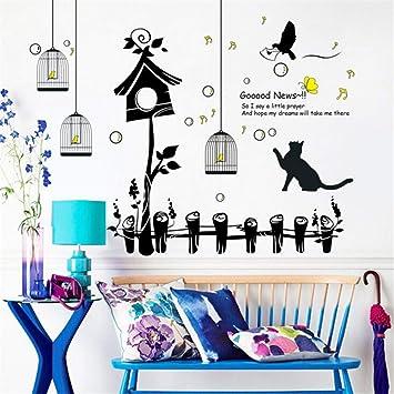 Feliz pájaro jaula nido gato grandes pegatinas de pared decoración ...