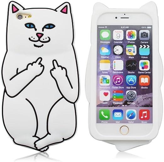 iPhone 8 Coque, iPhone 7 Coque, doigt d'honneur Chat avec Cute Fun ...