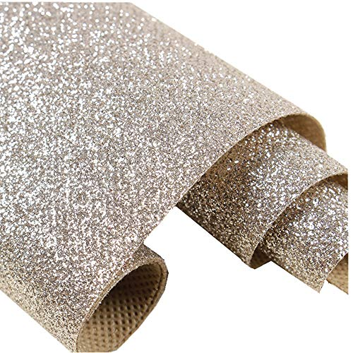 DHHOUSE Champagne Glitter Wallpaper Sample, Sparkly Glitter Paper (6X6 inch ()