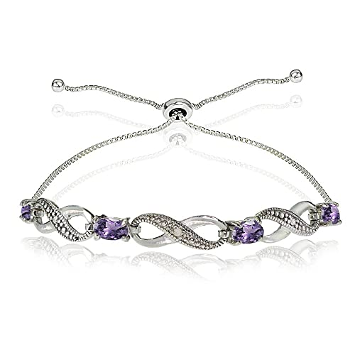 GemStar USA Sterling Silver Genuine, Created, or Simulated Figure 8 Infinity Adjustable Bolo Bracelet