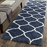 """Safavieh Hudson Shag Collection SGH280C Navy and Ivory Moroccan Ogee Plush Runner (2'3"""" x 12')"""
