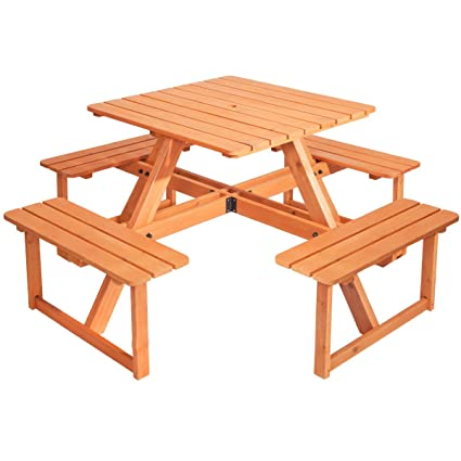 Amazon merax pine wood round picnic table and benches natural merax pine wood round picnic table and benches natural yellow stained color watchthetrailerfo