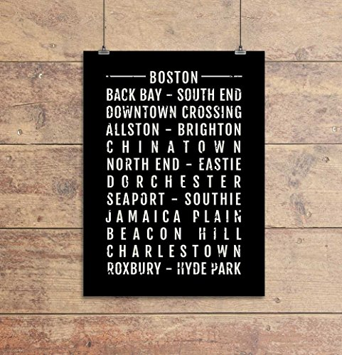 Boston Print - Neighborhoods - Subway Sign Poster, Wall Art, Décor, Canvas, Word Map, Gift, Bus Scroll, Typography, Minimal, Custom, Personalized (Word Custom Art)