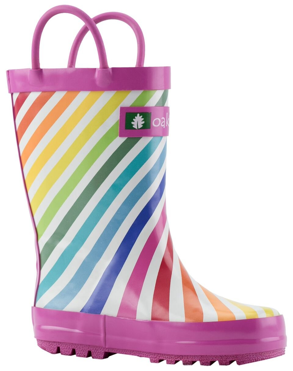 Oakiwear Kids Rubber Rain Boots with Easy-On Handles, Rainbow Stripes, 11T US Toddler