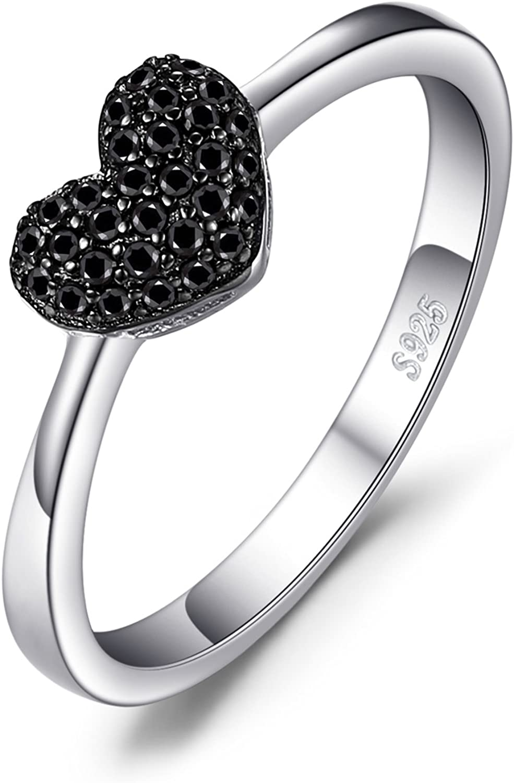JewelryPalace Anillo dulce en forma de corazón adornado Espinela negro Plata de ley 925