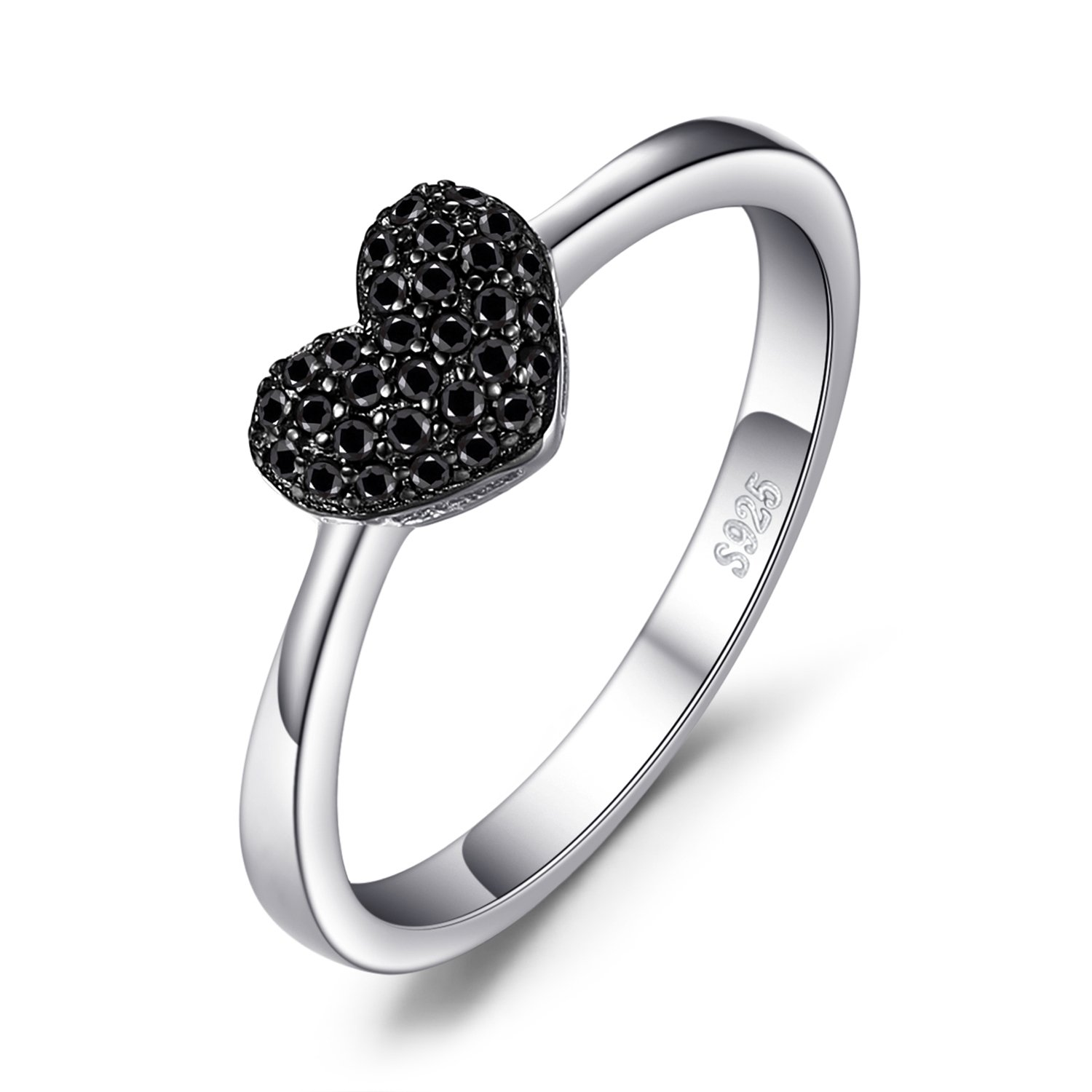 JewelryPalace 0.14ct Genuine Spinel Love Heart Ring 925 Sterling Silver
