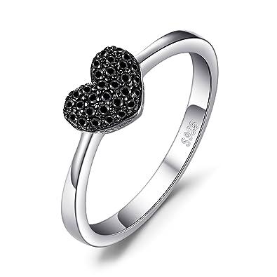 3e85ca12f700 JewelryPalace Anillo dulce en forma de corazón adornado Espinela negro en  palta de ley 925  Amazon.es  Joyería