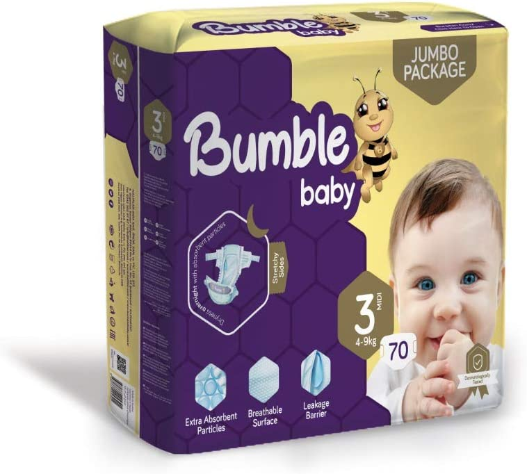 Bumble Baby Diapers Size 3 (4-9 KG) 70 Counts