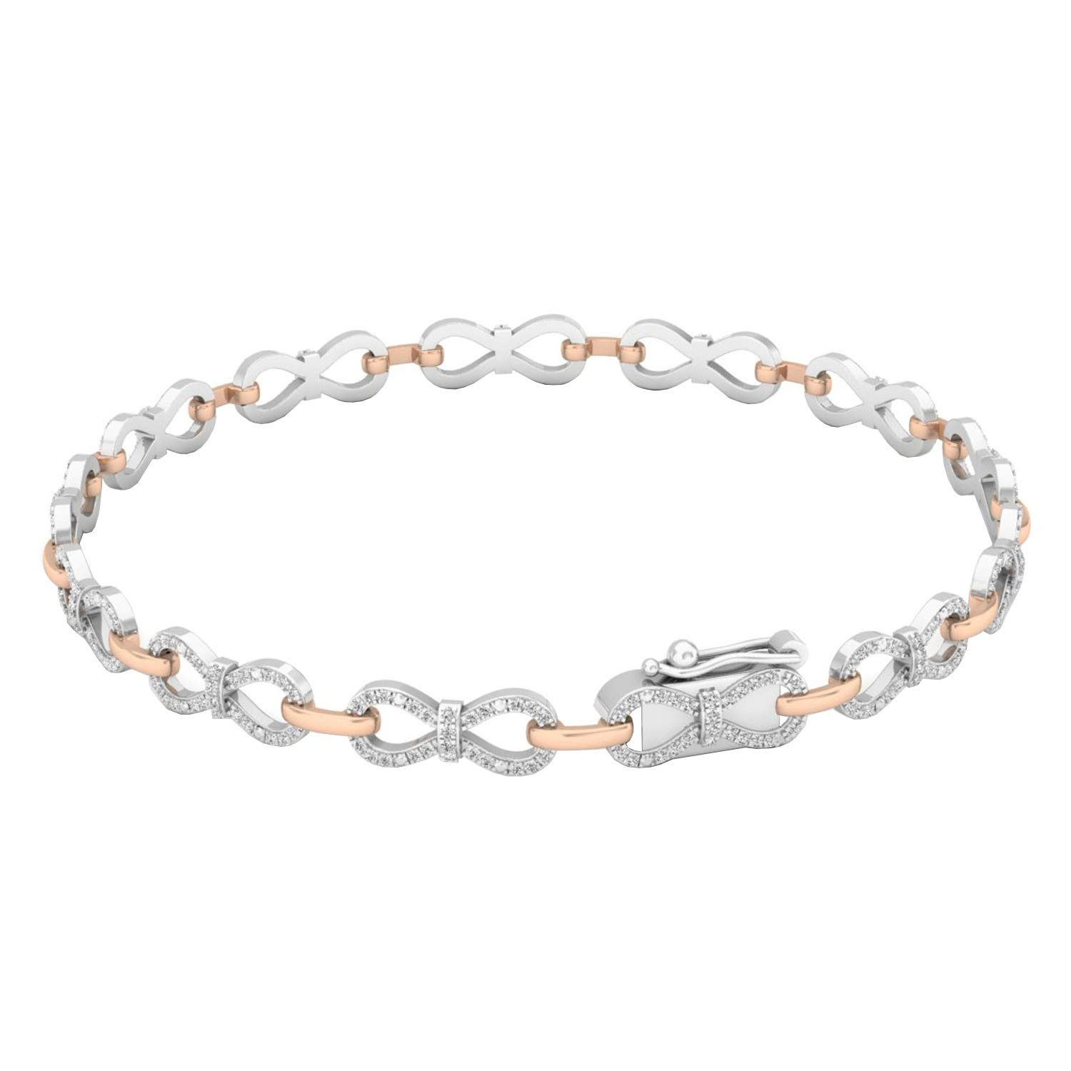 Dazzlingrock Collection 0.55 Carat (ctw) 14K White & Round Diamond Ladies Infinity Tennis Link Bracelet 1/2 CT, Rose Gold by Dazzlingrock Collection