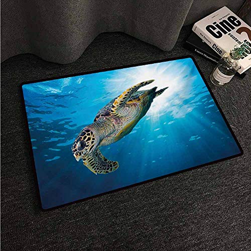 HCCJLCKS Washable Doormat Turtle Hawksbill Sea Turtle Dive Deep Into The Blue Ocean Against Sun Rays Suitable for Outdoor and Indoor use W35 xL47 Yellow Brown Aqua Blue
