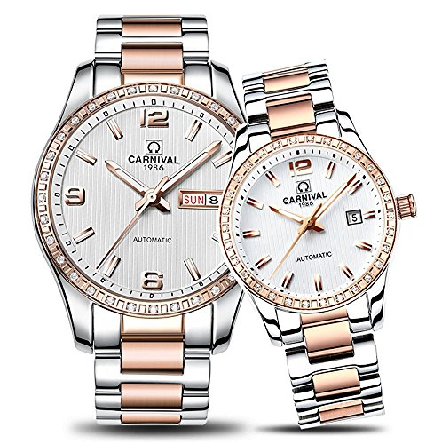 Couple Stainless Steel Automatic Mechanical Watch Sapphire Glass Watches for Her or His Gift Set 2 (Rose Gold/White) by MASTOP
