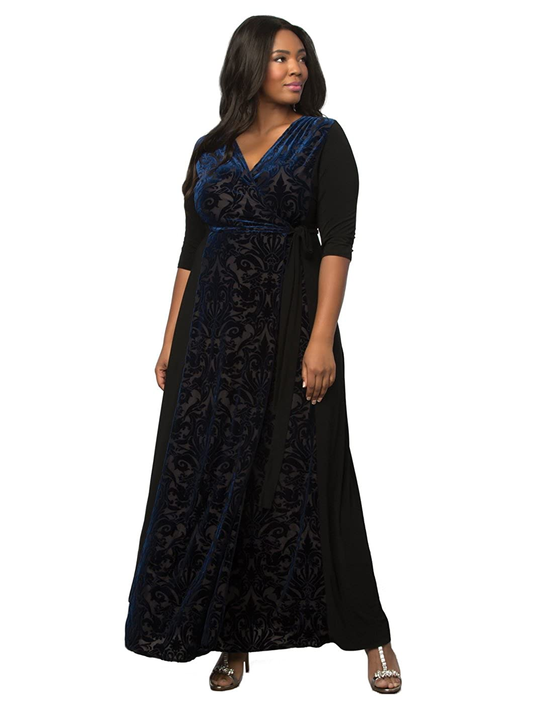 e1c6ca89200 Kiyonna Women s Plus Size Ornate Velvet Maxi Dress 3X Midnight Navy ...