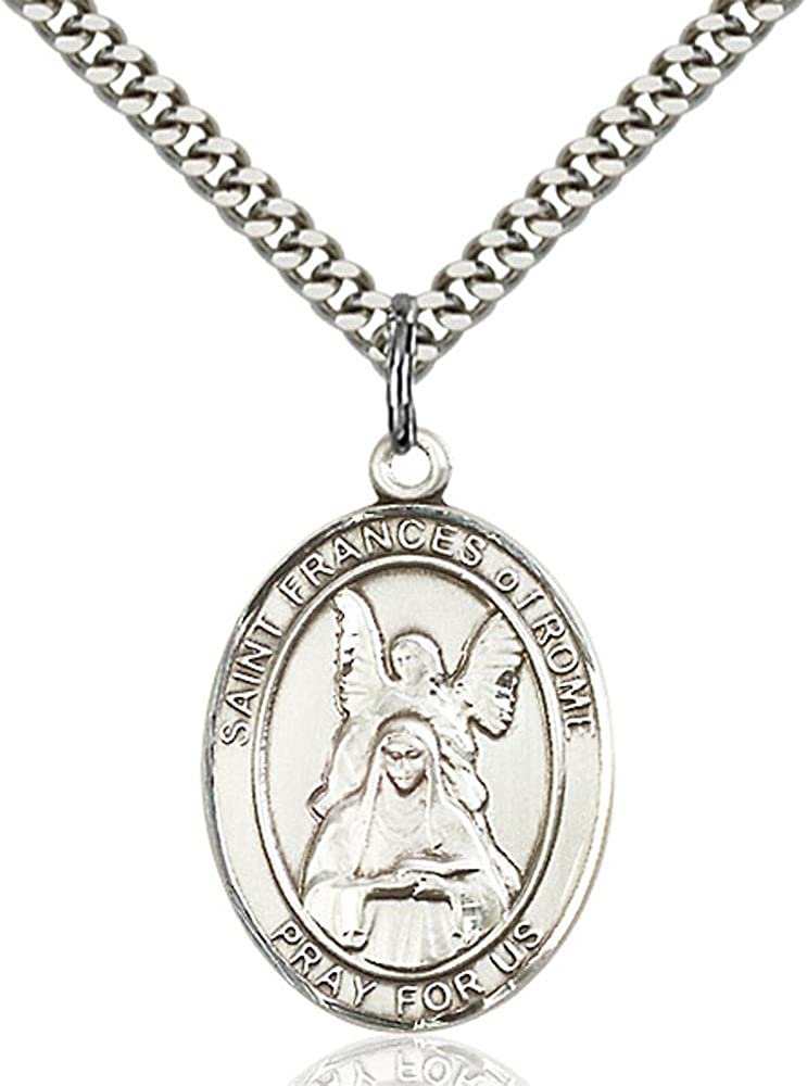 Bonyak Jewelry St Frances of Rome Hand-Crafted Oval Medal Pendant in Sterling Silver