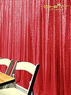 ShinyBeauty Red Sequin Photography Backdrop 5FTx7FT Glitz Party Photo Booth Sparkly Wedding