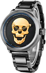 Men Skull Watches, Cool 3D Skulls Men Stainless Steel Wristwatch, Stylish Punk Watch