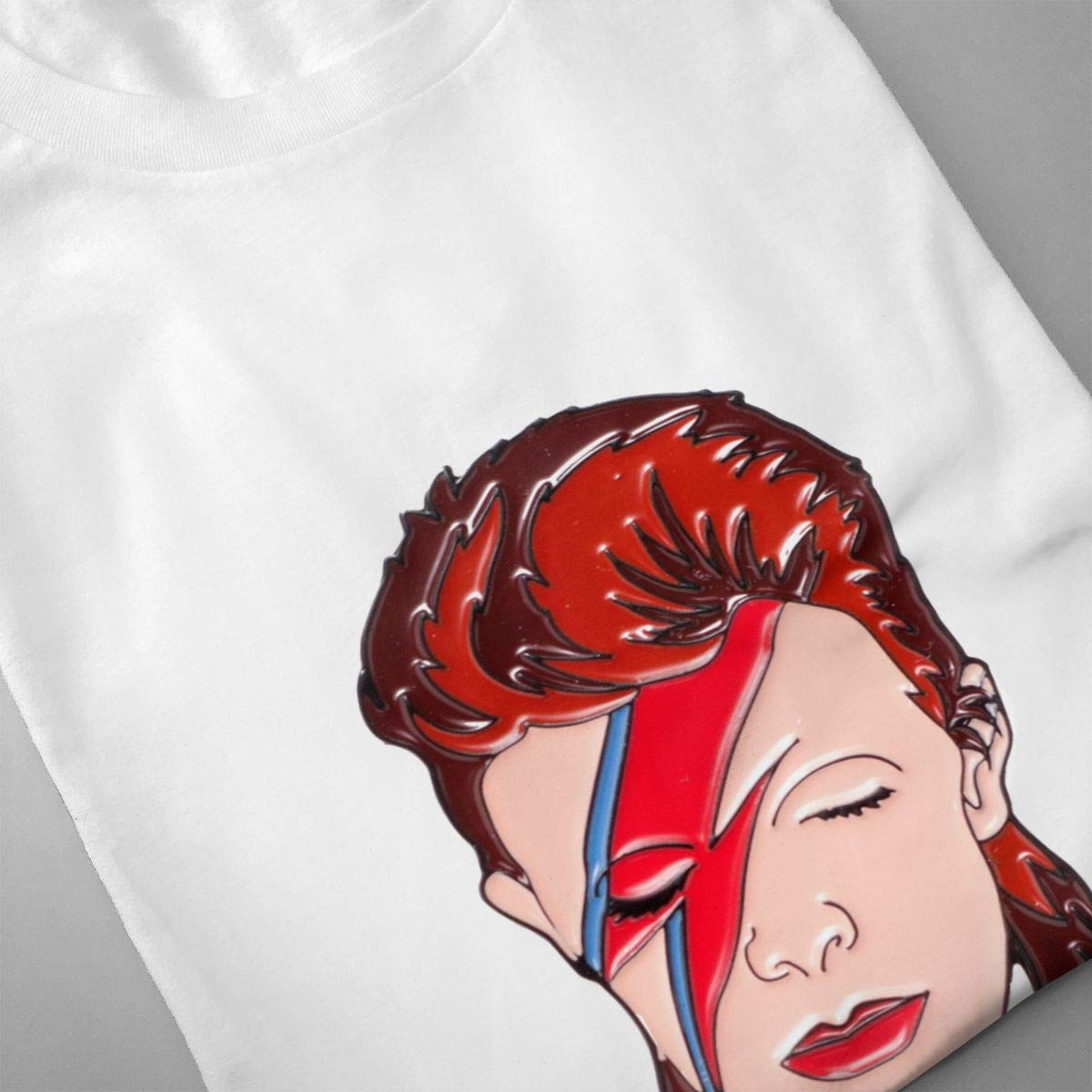 QINSHAONI David-Bowie Teenagers Boy Retro Trend Printed Letters 3D Pattern Comfortable Light T-Shirt T-Shirts M