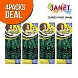 Janet Collection Synthetic Hair Crochet Braids Noir 2X Rod Twist Braid (4-PACK, OE2TBLUE)