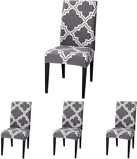 ColorBird Moroccan Series Spandex Dining Chair Slipcovers Removable Universal Stretch Chair Protective Covers for Dining Room, Hotel, Banquet, Ceremony (Set of 4, Gray)