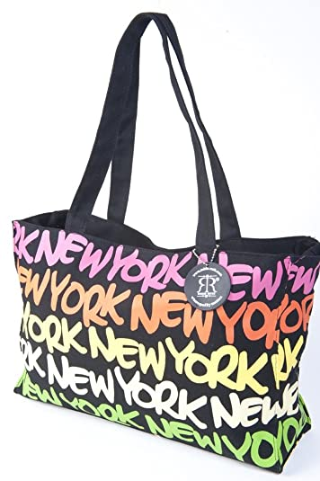 db9a275f36b1 Amazon.com  Robin Ruth NY New York Neon Rainbow color Designer Fashion  Carry Tote Bag w  Free New York Magnet  Shoes