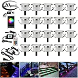 Led Deck Lighting Kits, FVTLED 20pcs Φ1.22'' WiFi Controlled Smart Low Voltage LED Step Light Waterproof Outdoor Lamps Compatible with Alexa Google Home Multicolor Changing Lights