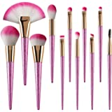 Makeup Brushes -11pcs Brush Set of Professional Eye Concealer Powder Foundation Contour Cosmetic Brushes with Extra Fan-shaped Pink Brush for Women/Girls by Amoyee (11pcs)