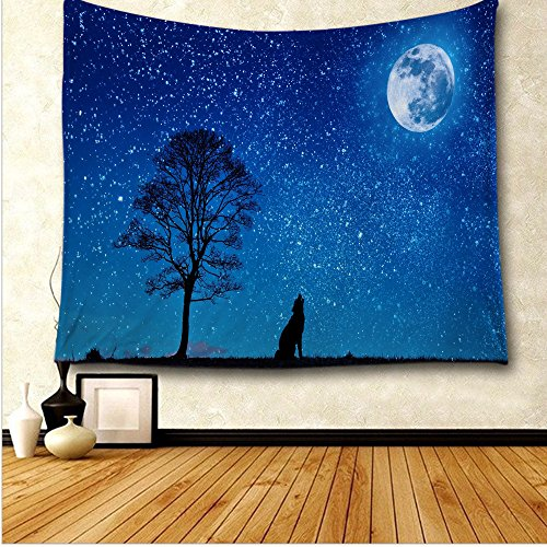 Scary Silhouette Hung (Animal Tapestry Black Wolf Silhouette Howling Thunderstorm Full Moon Light Mystic Night Monochrome Scary Scene Art Charcoal Decor Tapestry Hanging Dorm Bedroom Living Room, Blue White and Black)