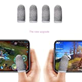 Finger Sleeve, Breathable Mobile Game Controller Finger Sleeve Touch Screen Finger Cot with Conducting Wire Fiber for Fortnite PUBG Mobile, Rules of Survival, for Android iOS Tablet (4 Pack)