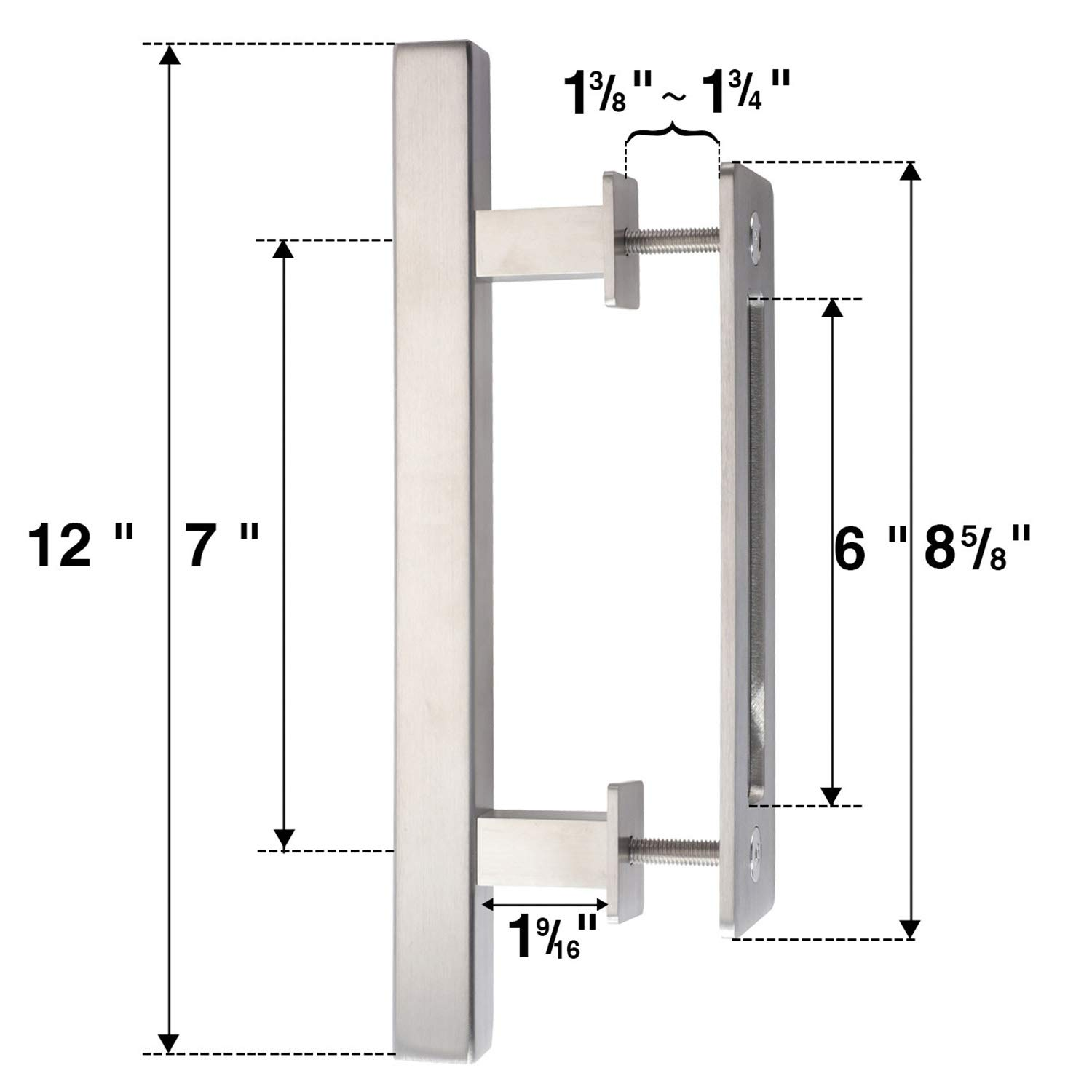 Easelife 12 Set With Pull And Flushstainless Steel Door Knob Latch Diagram Of Release Barn Hardware Handle Square Gray Home Improvement