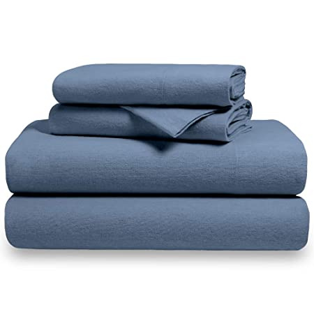 2ed30f100e24 100% Cotton Velvet Flannel Sheet Set - Extra Soft Heavyweight - Double  Brushed Flannel - Deep Pocket (Twin XL, Coronet Blue): Amazon.co.uk:  Kitchen & Home