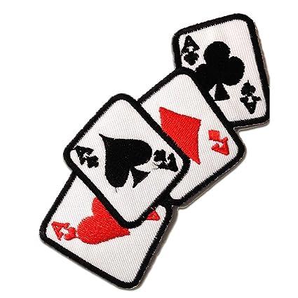 Parches - ase Poker cartas Biker - blanco - 11x5cm - termoadhesivos bordados aplique para ropa
