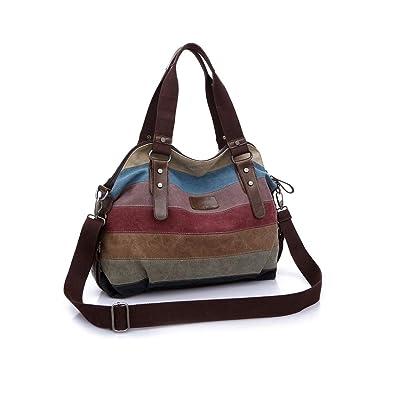 Amazon.com: Bolsas de hombro de lona para mujer, varios ...