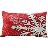 taie d'oreiller, Yogogo 30cm x 50cm Cas de Noël Rectangle coton Linter oreiller housses de coussin (A)