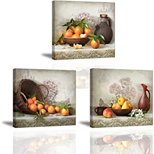 Fruits Canvas Wall Art, Oranges in Basket Pears in Bowl Vintage Picture, Flowers Out of Vase On Talbe Retro Painting, Perfect Combination of Antiques and Fine Art Home Decor for Kitchen Dining Room