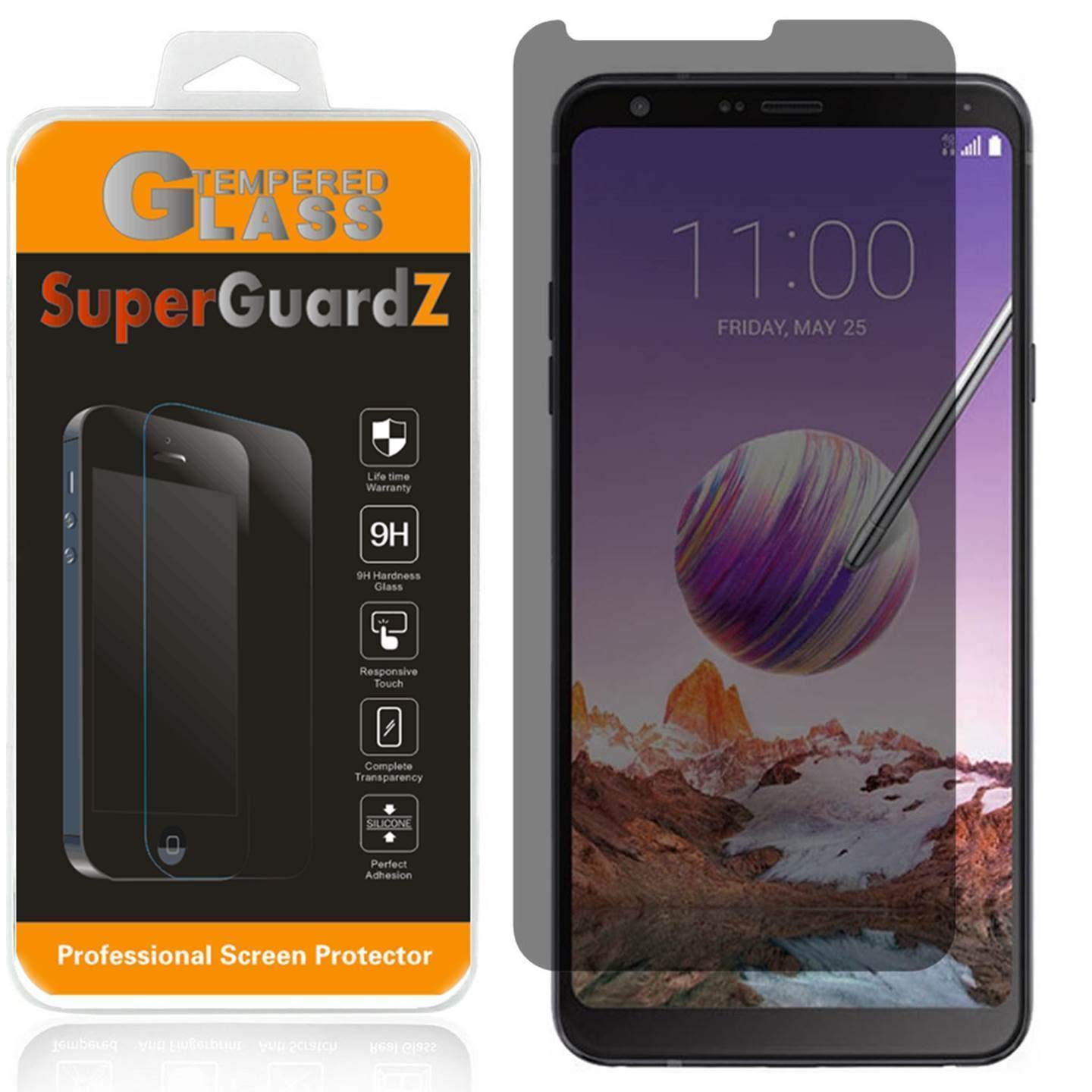 for LG Stylo 4 Tempered Glass Screen Protector [Privacy Anti-Spy], SuperGuardZ, 9H Anti-Scratch, Anti-Bubble [Lifetime Replacements]