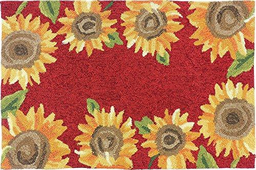 Hand Hooked Sunflower Field Area Rug