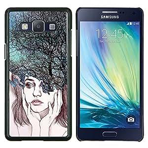 TECHCASE---Cubierta de la caja de protección para la piel dura ** Samsung Galaxy A5 ( A5000 ) 2014 Version ** --Depresión árboles Naturaleza abstracta