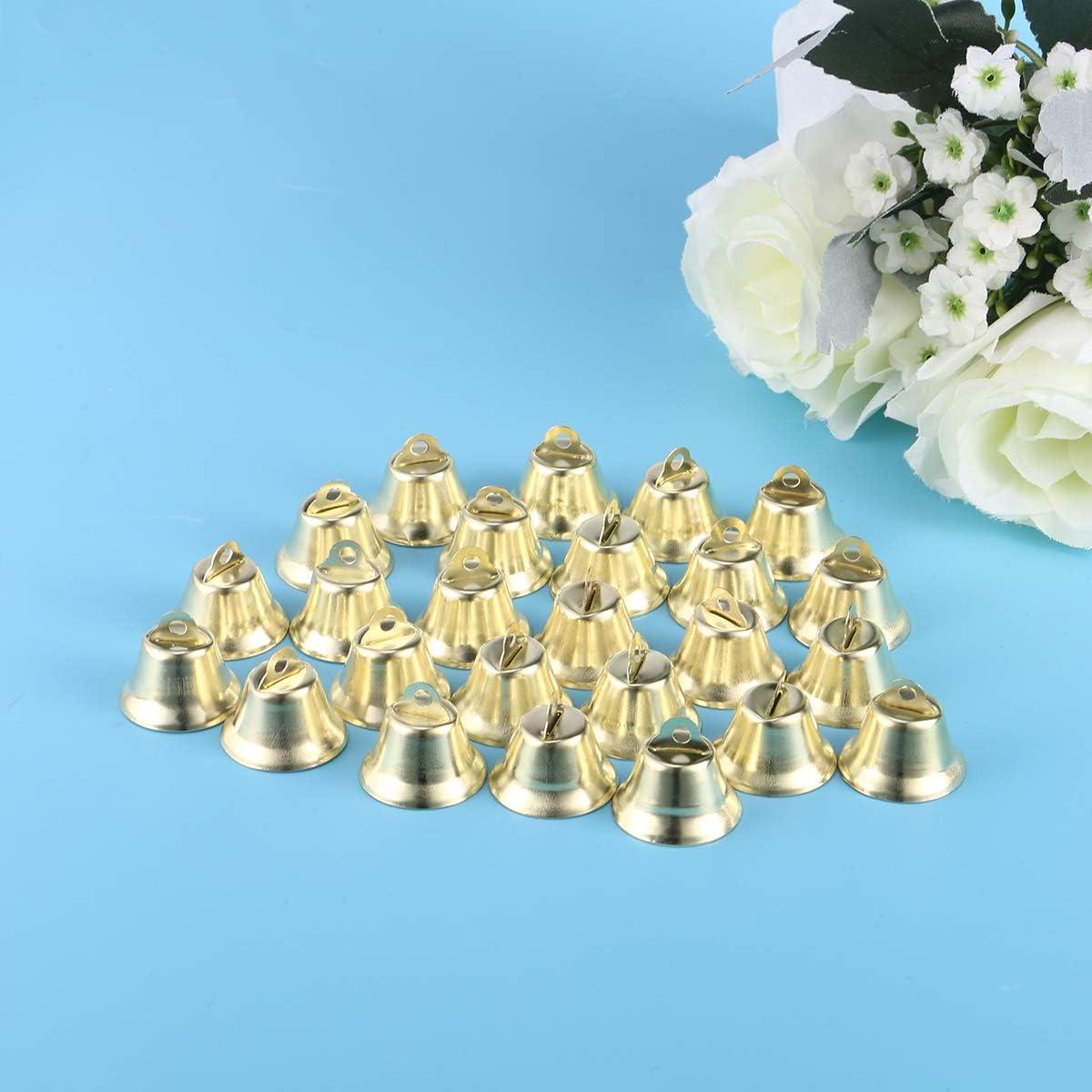 100pcs Gold Metal Liberty Jingle Bells Small Bells Brass Bells for Christmas Festival Decor DIY Craft Golden//26mm