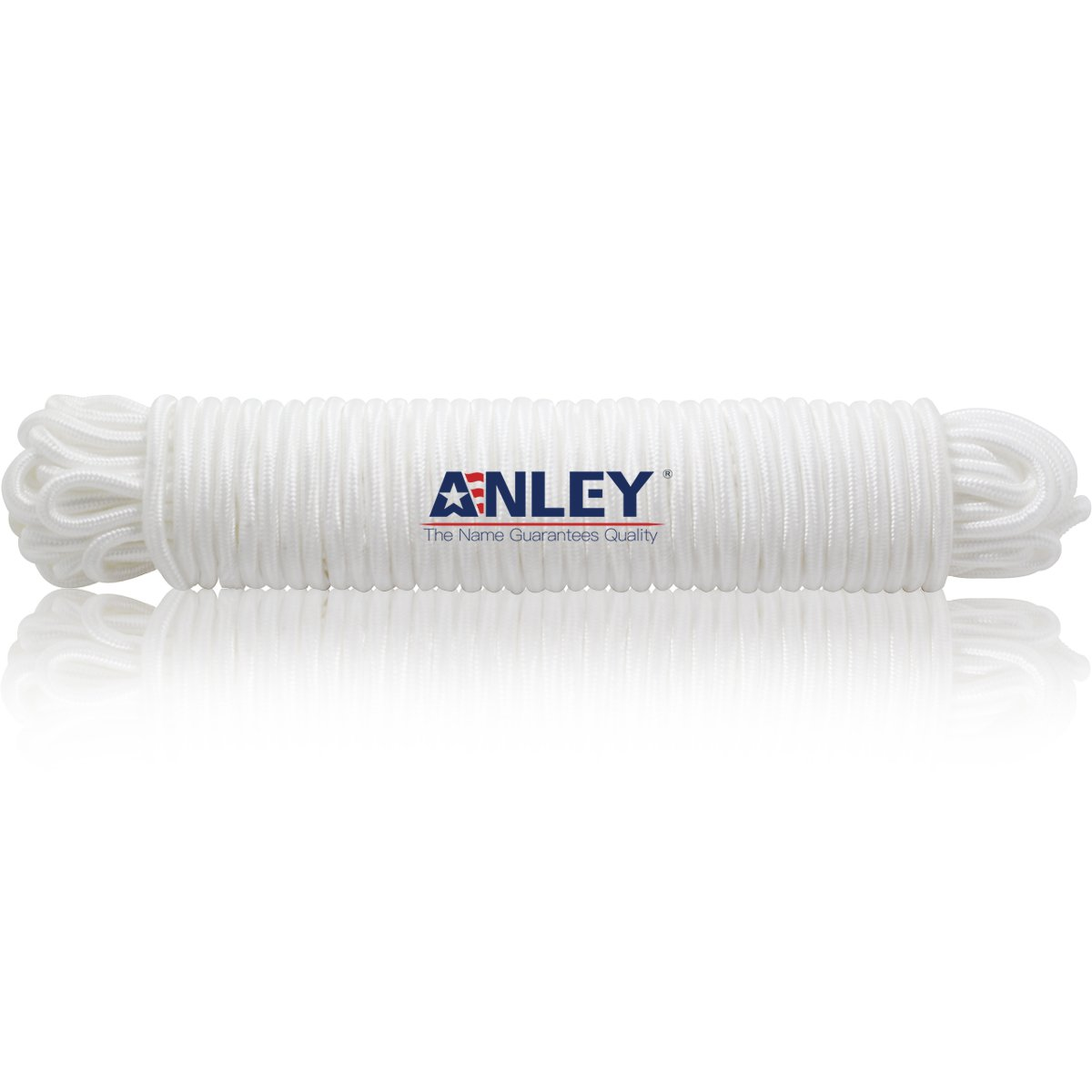 Anley 80 Feet x 1/4'' Flag Pole Halyard Rope, Outdoor Flagpole Accessories - Double Braided, Compatible with Flagpoles Up To 35 Feet (White)