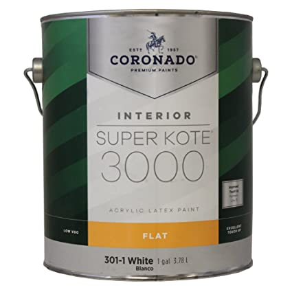 Gallon Flat White Super Kote 3000 Acrylic Latex Paint - - Amazon com