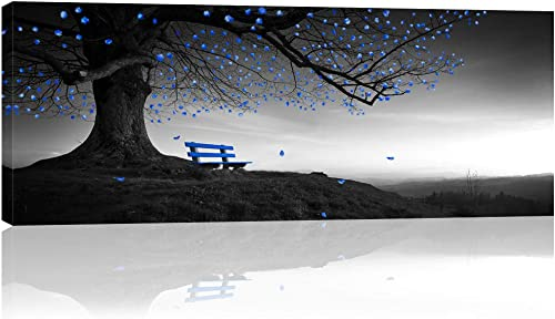 Visual Art Decor Large Fancy Canvas Wall Art Black White and Blue Tree