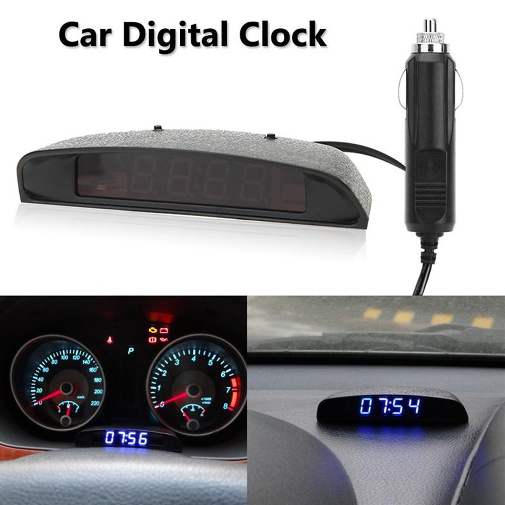 PolarLander 12V 3 In 1 Digital LED Car Clock Thermometer Voltmeter Voltage Temperature Monitor