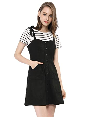 4b1fbaffd Allegra K Women's Faux Suede Button Front A-Line Short Pinafore Overall  Dress Black XS