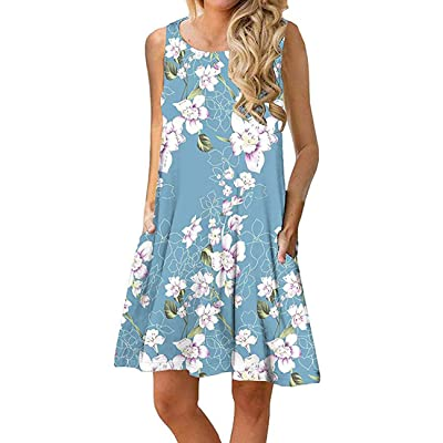 RANLUP Women's Summer V Neck Beach Casual Sundress Floral Printed Sleeveless Loose T-Shirt Dress with Pockets: Clothing