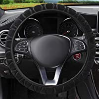 Steering Wheel Cover 3 Pieces Steering Wheel Cover Handbrake Universal Car Steering Wheel Cover Plush Telescopic Steering Wheel Cover Steering Wheel Cover for Car Accessories 36-39 cm Black